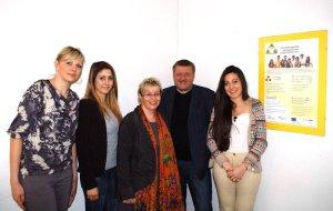 Ausbildungsring Ausländischer Unternehmer eV (AAU). Von links nach rechts: Evgenia Viatkin, Merve Boyaci, ich, Rainer Aliochin (Geschäftsleiter), Maria Isabel Castillo Arredondo