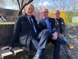 Franz Müntefering, Thorsten Brehm, Gabriela Heinrich auf der Insel Schütt in Nürnberg